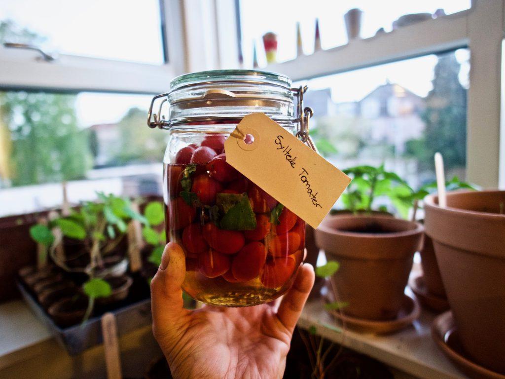 Syltede cherry tomater, søde og fulde af smag